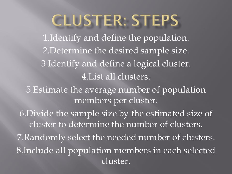 1.Identify and define the population. 2.Determine the desired sample size.