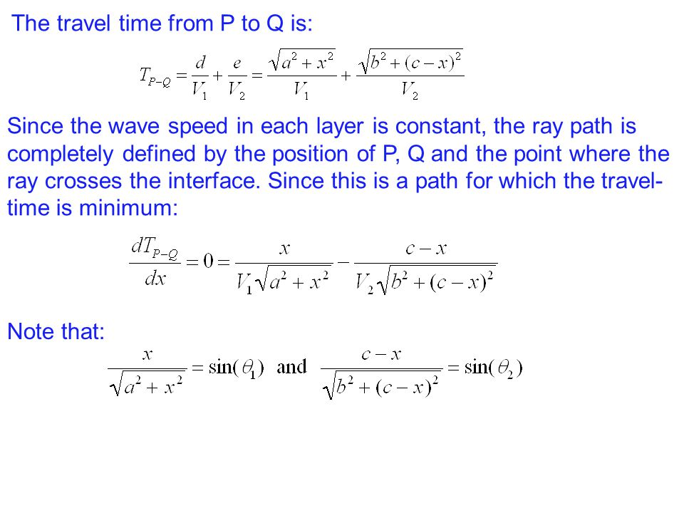 The travel time from P to Q is: Since the wave speed in each layer is constant, the ray path is completely defined by the position of P, Q and the point where the ray crosses the interface.