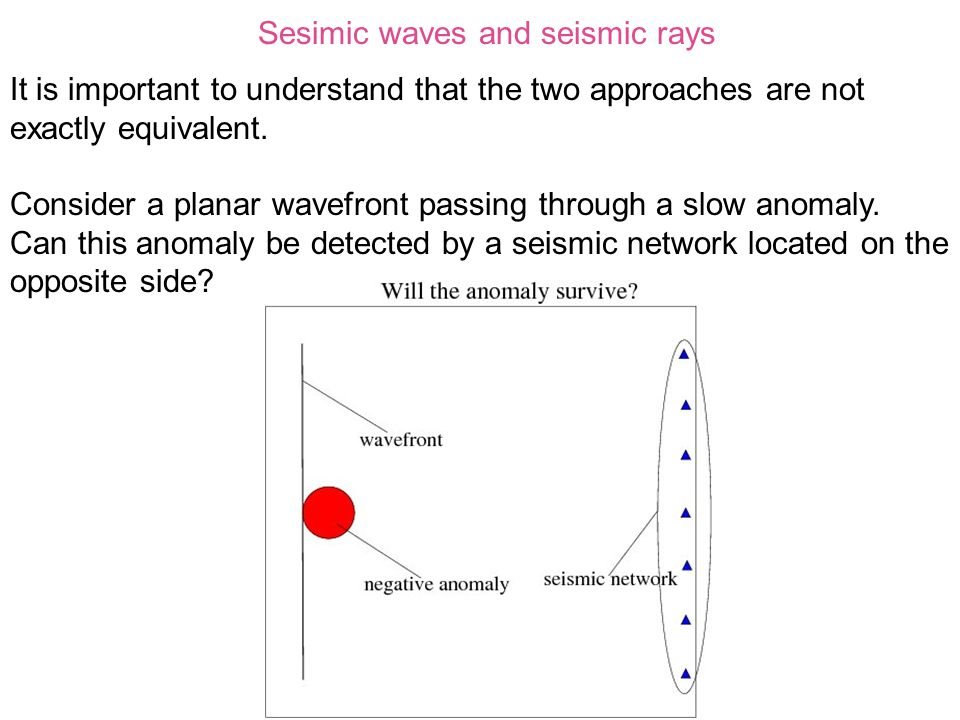Sesimic waves and seismic rays It is important to understand that the two approaches are not exactly equivalent.