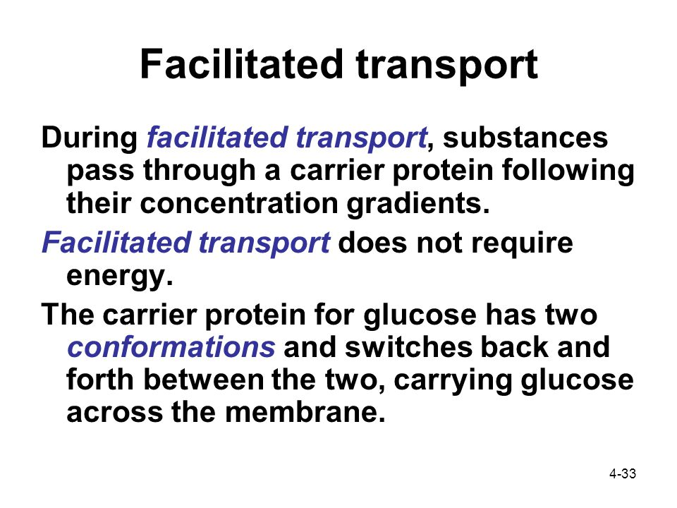 4-33 Facilitated transport During facilitated transport, substances pass through a carrier protein following their concentration gradients.
