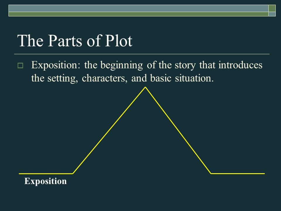 Exposition The Parts of Plot  Exposition: the beginning of the story that introduces the setting, characters, and basic situation.