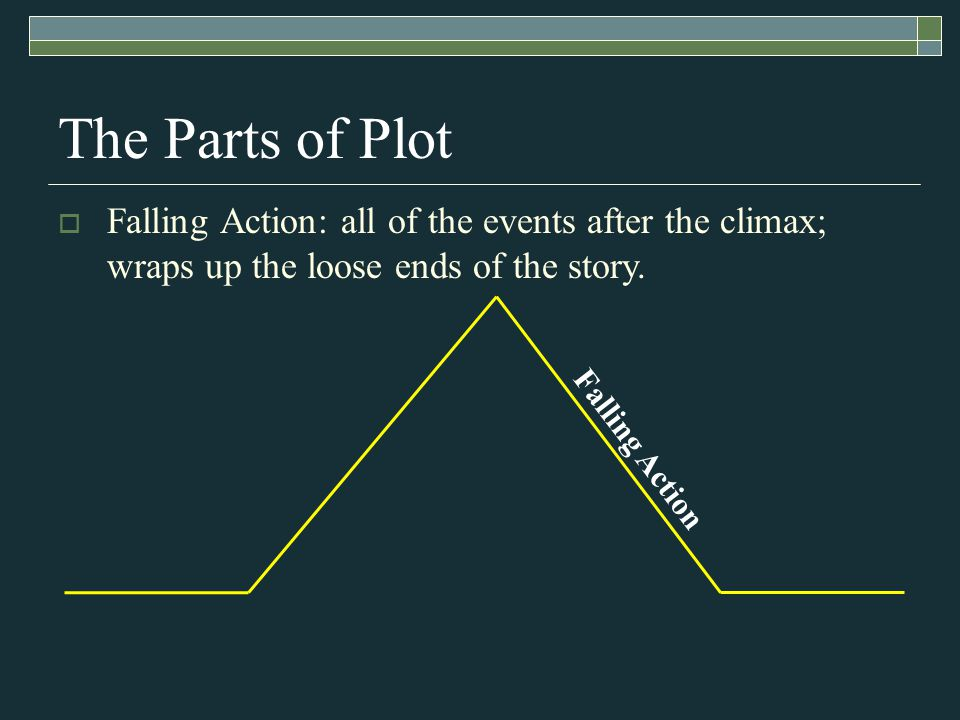 Falling Action The Parts of Plot  Falling Action: all of the events after the climax; wraps up the loose ends of the story.