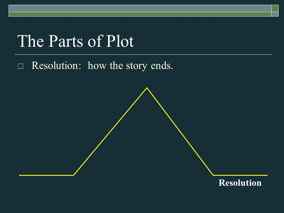 Resolution The Parts of Plot  Resolution: how the story ends.