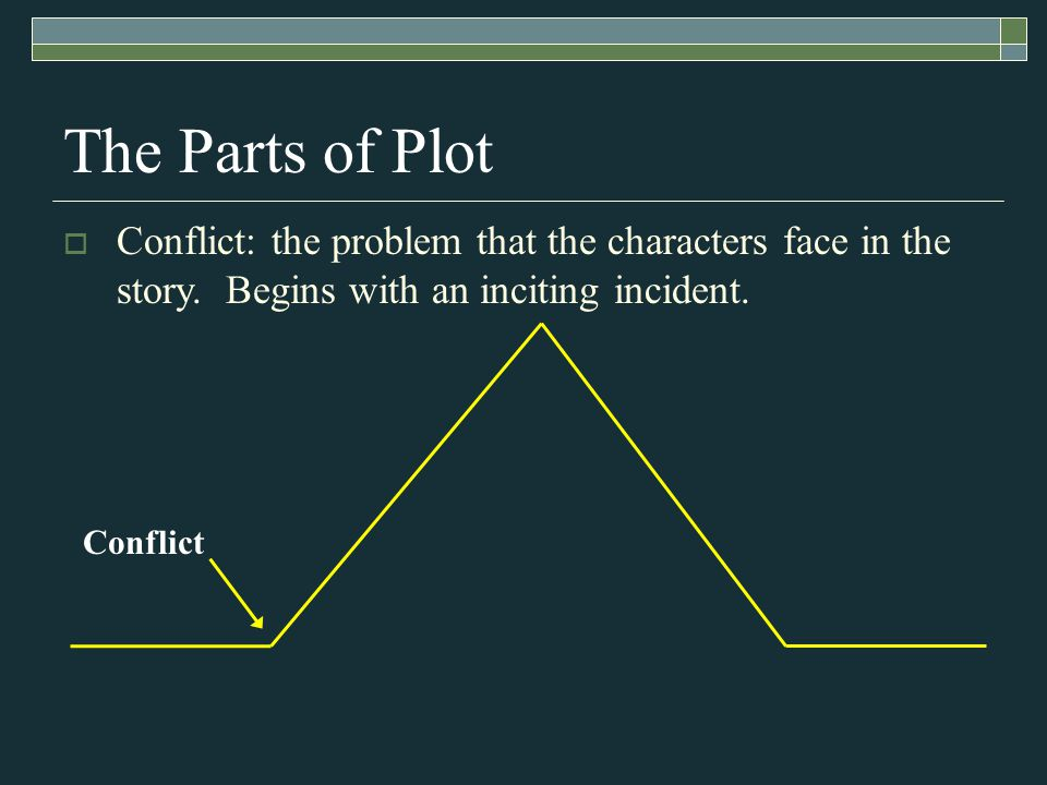 The Parts of Plot Conflict  Conflict: the problem that the characters face in the story.