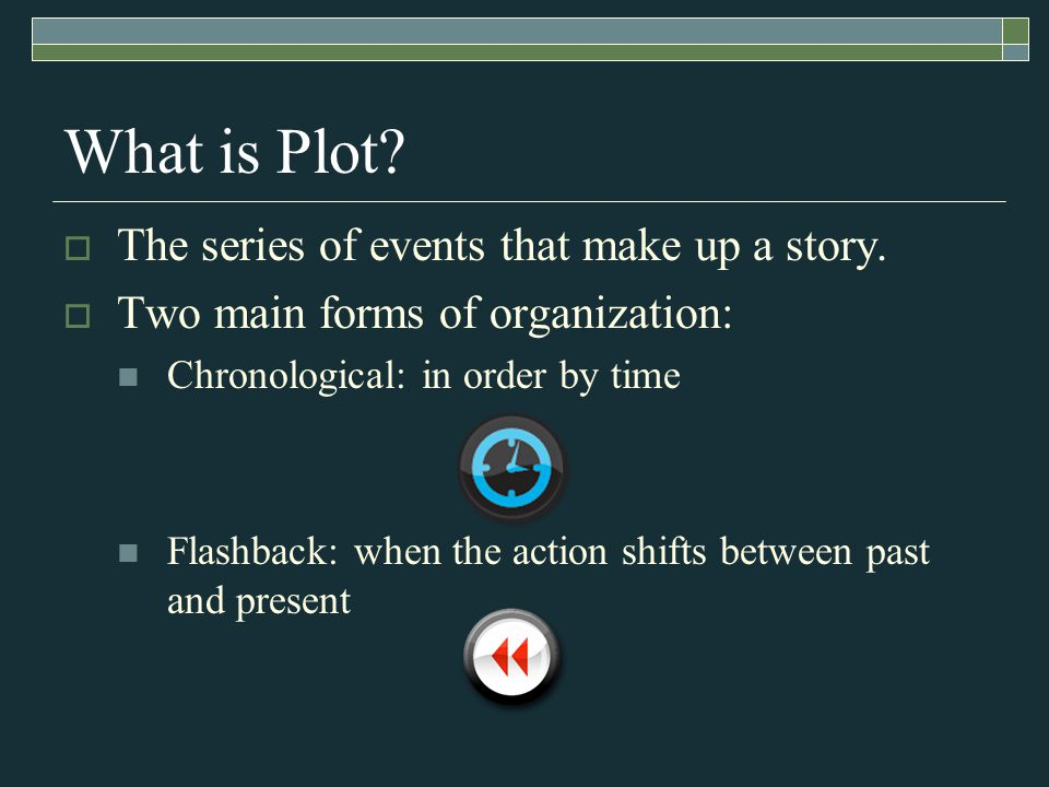 What is Plot.  The series of events that make up a story.