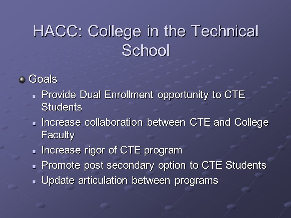 HACC: College in the Technical School Goals Provide Dual Enrollment opportunity to CTE Students Provide Dual Enrollment opportunity to CTE Students Increase collaboration between CTE and College Faculty Increase collaboration between CTE and College Faculty Increase rigor of CTE program Increase rigor of CTE program Promote post secondary option to CTE Students Promote post secondary option to CTE Students Update articulation between programs Update articulation between programs