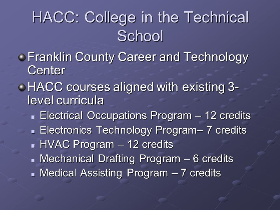 HACC: College in the Technical School Franklin County Career and Technology Center HACC courses aligned with existing 3- level curricula Electrical Occupations Program – 12 credits Electrical Occupations Program – 12 credits Electronics Technology Program– 7 credits Electronics Technology Program– 7 credits HVAC Program – 12 credits HVAC Program – 12 credits Mechanical Drafting Program – 6 credits Mechanical Drafting Program – 6 credits Medical Assisting Program – 7 credits Medical Assisting Program – 7 credits