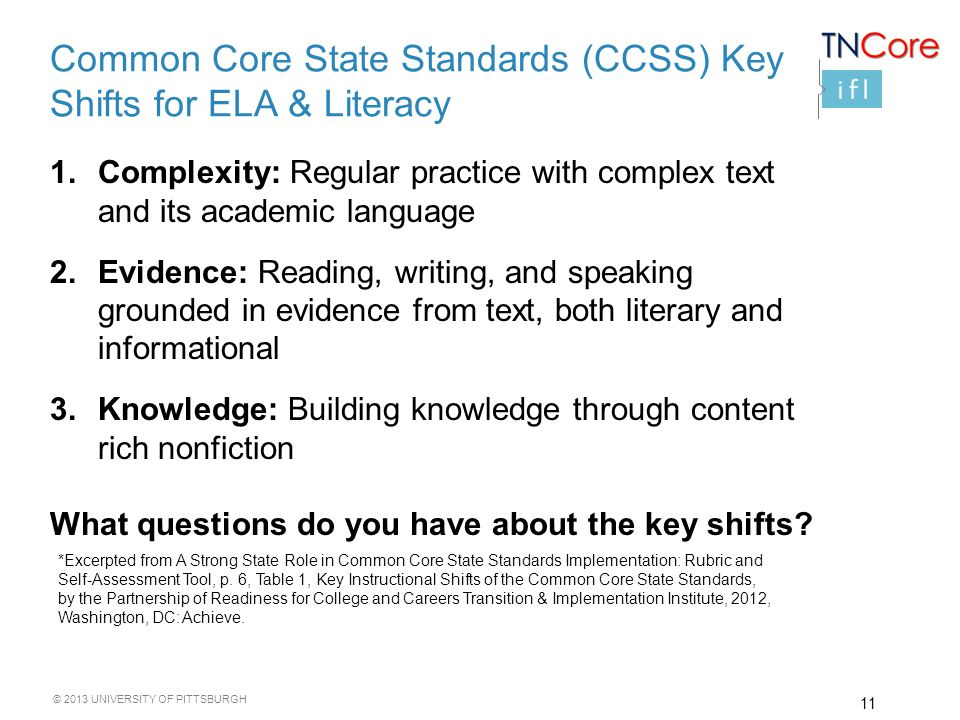 © 2013 UNIVERSITY OF PITTSBURGH 1.Complexity: Regular practice with complex text and its academic language 2.Evidence: Reading, writing, and speaking grounded in evidence from text, both literary and informational 3.Knowledge: Building knowledge through content rich nonfiction What questions do you have about the key shifts.