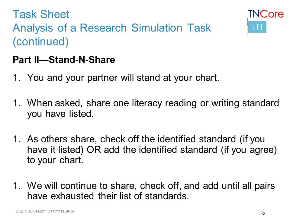 © 2013 UNIVERSITY OF PITTSBURGH Task Sheet Analysis of a Research Simulation Task (continued) Part II—Stand-N-Share 1.You and your partner will stand at your chart.