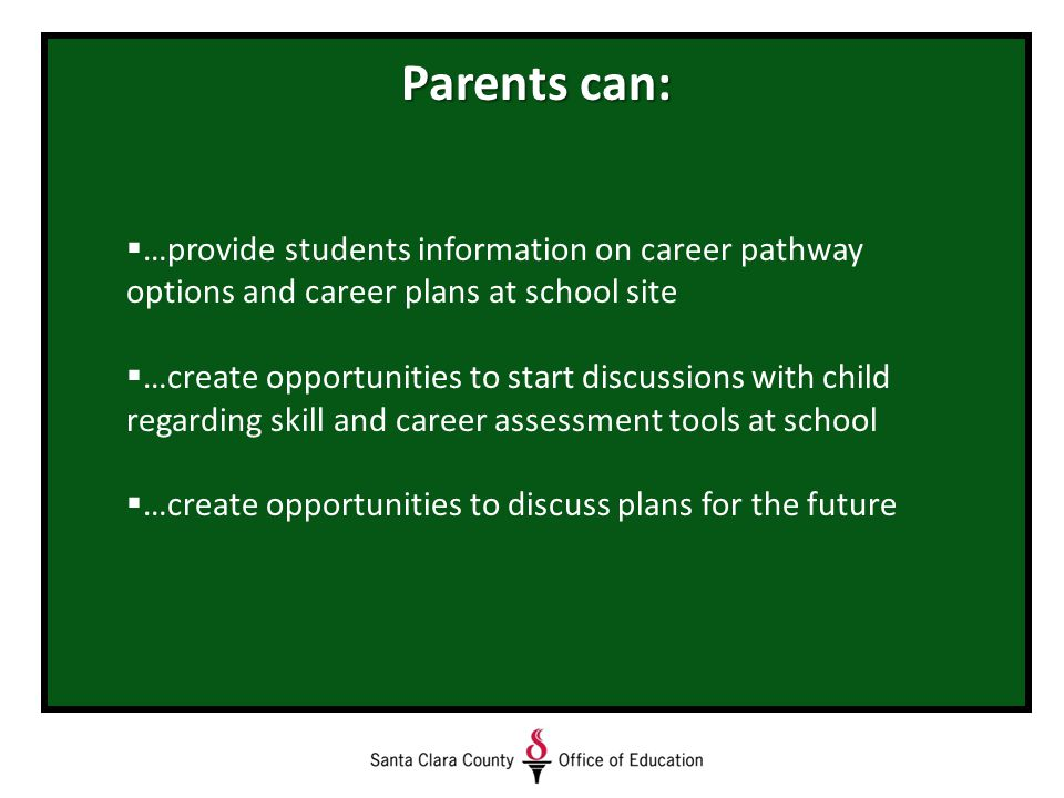 Parents can:  …provide students information on career pathway options and career plans at school site  …create opportunities to start discussions with child regarding skill and career assessment tools at school  …create opportunities to discuss plans for the future