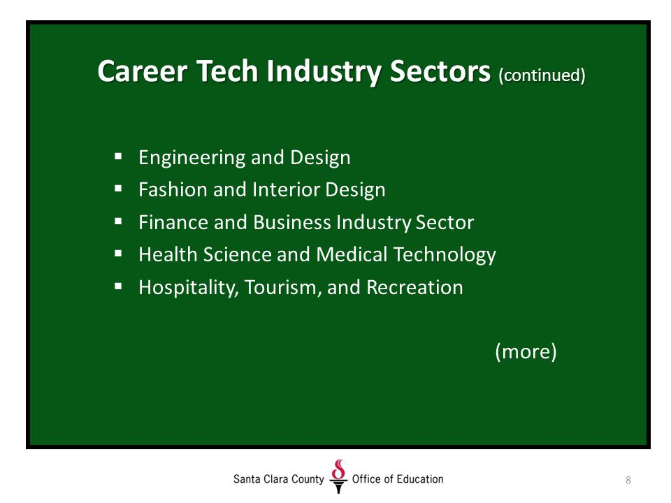 8 Career Tech Industry Sectors (continued)  Engineering and Design  Fashion and Interior Design  Finance and Business Industry Sector  Health Science and Medical Technology  Hospitality, Tourism, and Recreation (more)
