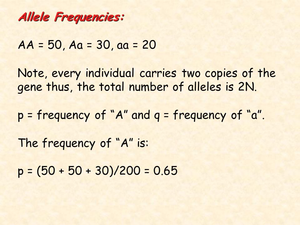 Allele Frequencies: AA = 50, Aa = 30, aa = 20 Note, every individual carries two copies of the gene thus, the total number of alleles is 2N.