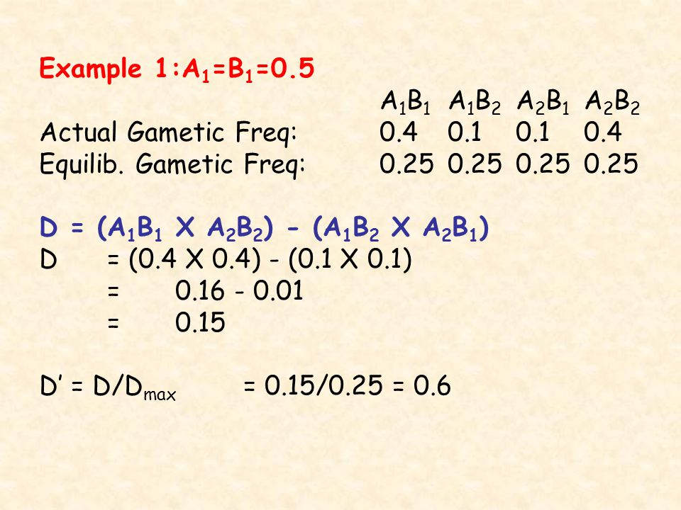 Example 1:A 1 =B 1 =0.5 A 1 B 1 A 1 B 2 A 2 B 1 A 2 B 2 Actual Gametic Freq: Equilib.