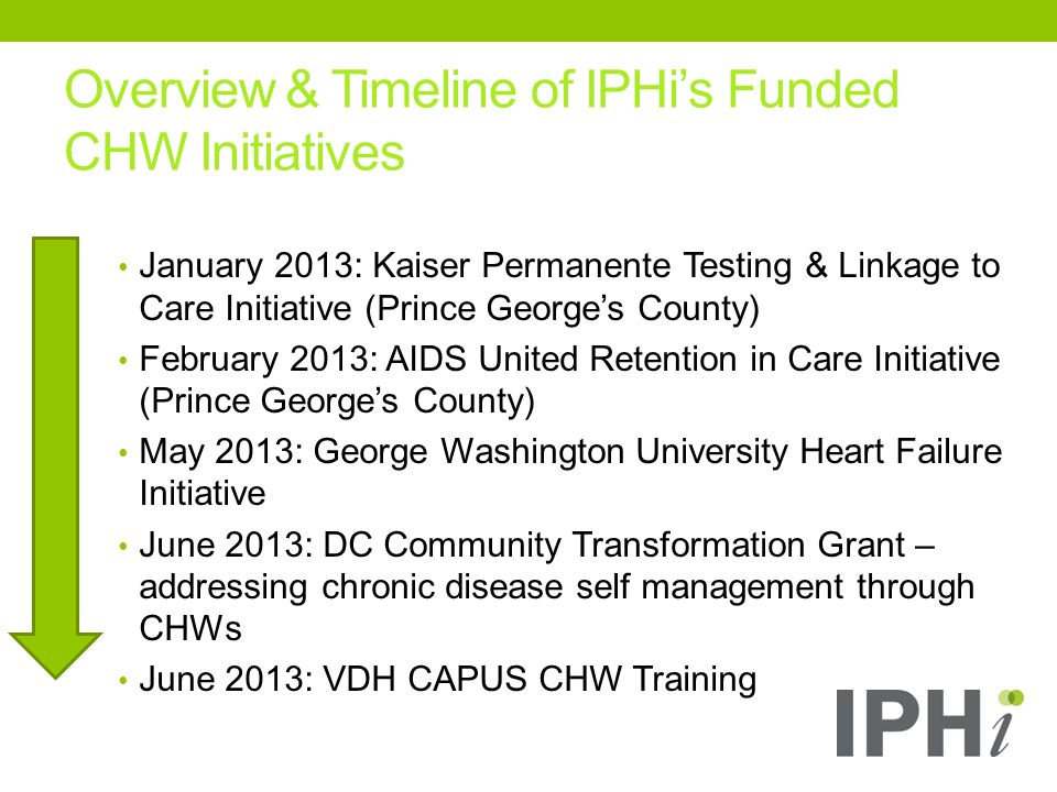 Overview & Timeline of IPHi's Funded CHW Initiatives January 2013: Kaiser Permanente Testing & Linkage to Care Initiative (Prince George's County) February 2013: AIDS United Retention in Care Initiative (Prince George's County) May 2013: George Washington University Heart Failure Initiative June 2013: DC Community Transformation Grant – addressing chronic disease self management through CHWs June 2013: VDH CAPUS CHW Training