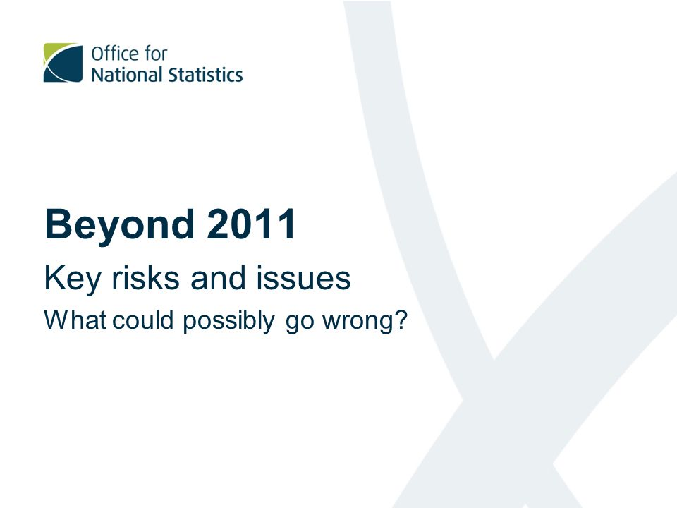 Beyond 2011 Key risks and issues What could possibly go wrong