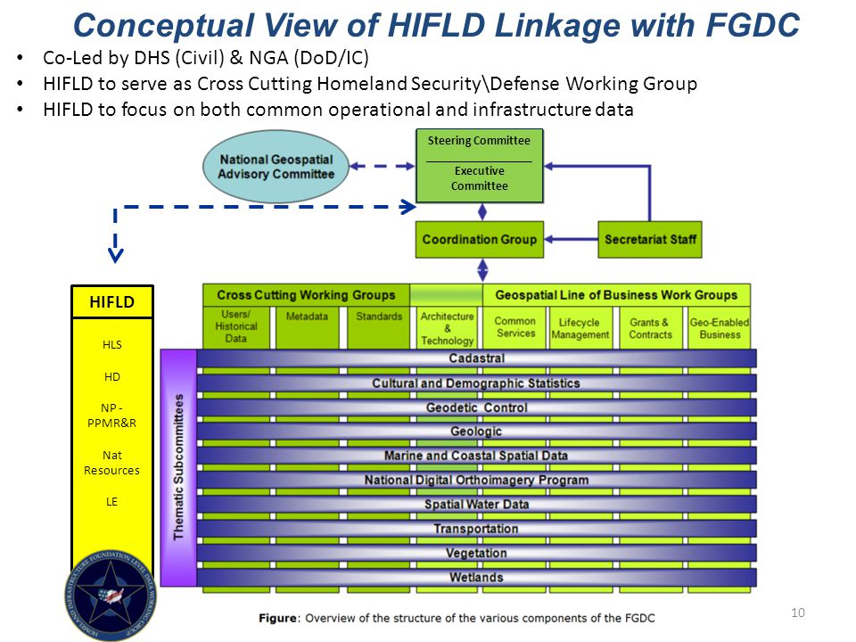 HLS HD NP - PPMR&R Nat Resources LE Conceptual View of HIFLD Linkage with FGDC Co-Led by DHS (Civil) & NGA (DoD/IC) HIFLD to serve as Cross Cutting Homeland Security\Defense Working Group HIFLD to focus on both common operational and infrastructure data HIFLD Steering Committee _________________ Executive Committee 10