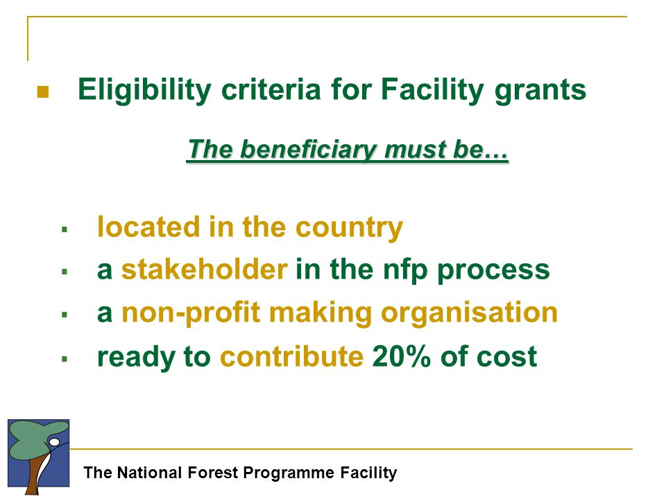 The National Forest Programme Facility Eligibility criteria for Facility grants The beneficiary must be…  located in the country  a stakeholder in the nfp process  a non-profit making organisation  ready to contribute 20% of cost