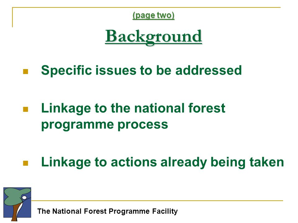 The National Forest Programme Facility (page two) Background Specific issues to be addressed Linkage to the national forest programme process Linkage to actions already being taken