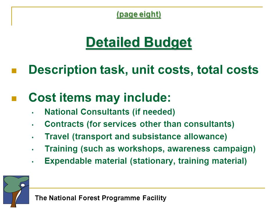 The National Forest Programme Facility (page eight) Detailed Budget Description task, unit costs, total costs Cost items may include: National Consultants (if needed) Contracts (for services other than consultants) Travel (transport and subsistance allowance) Training (such as workshops, awareness campaign) Expendable material (stationary, training material)