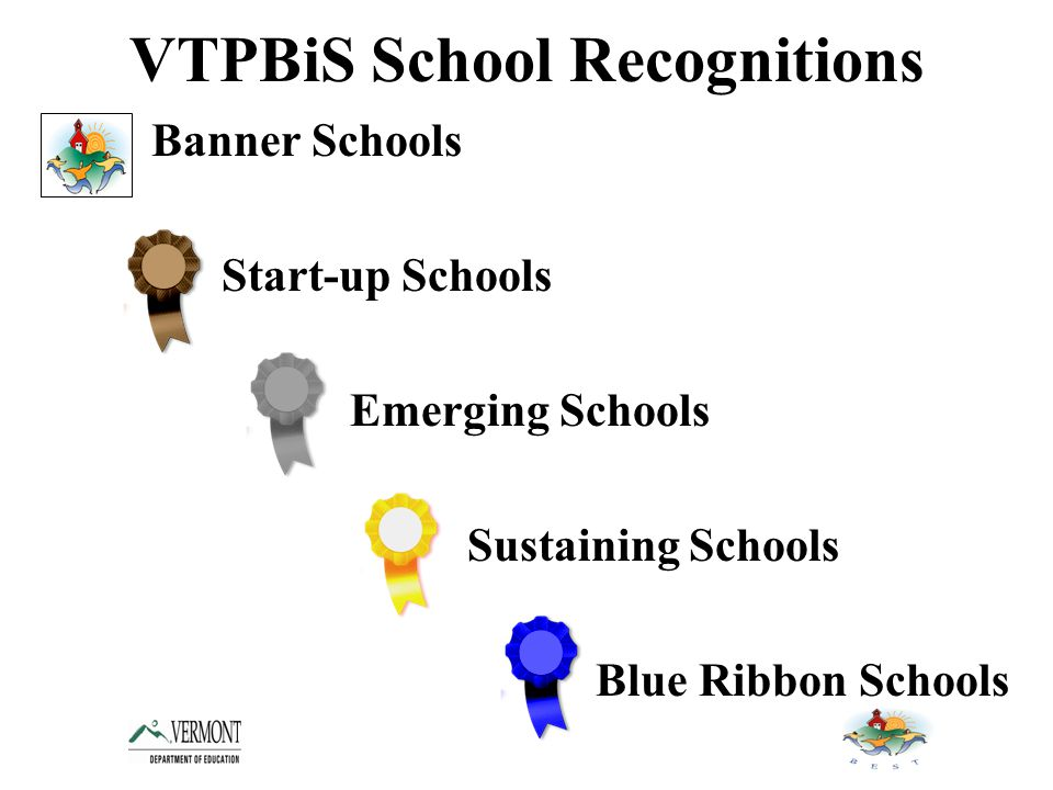 VTPBiS School Recognitions Banner Schools Start-up Schools Emerging Schools Sustaining Schools Blue Ribbon Schools