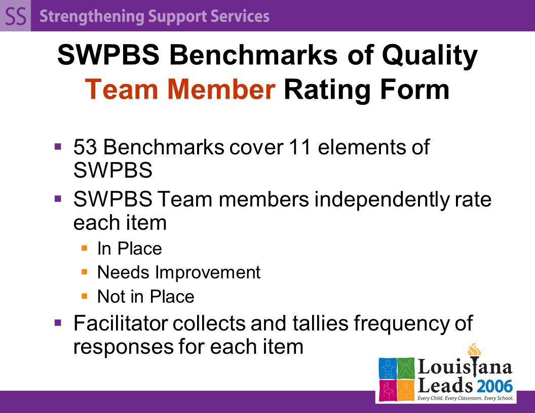 SWPBS Benchmarks of Quality Team Member Rating Form  53 Benchmarks cover 11 elements of SWPBS  SWPBS Team members independently rate each item  In Place  Needs Improvement  Not in Place  Facilitator collects and tallies frequency of responses for each item