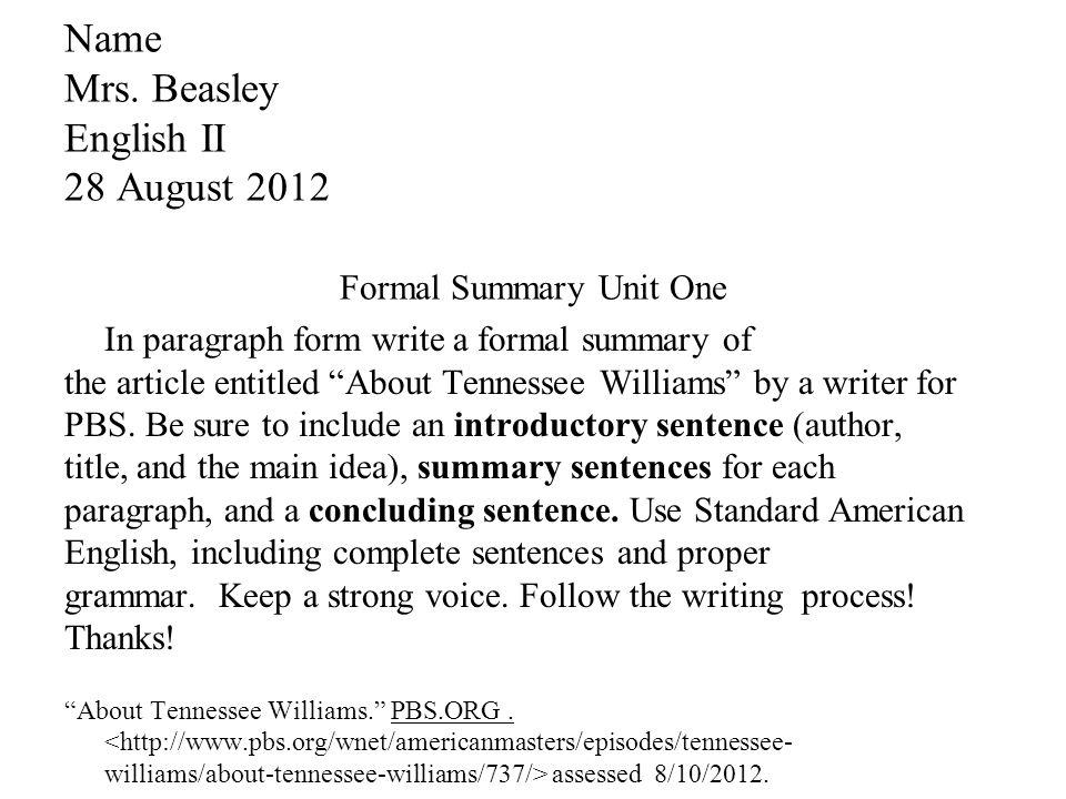 standard paragraph form