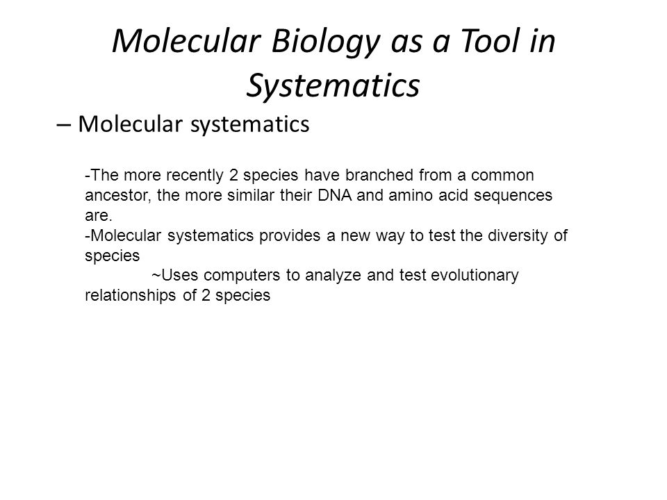 Molecular Biology as a Tool in Systematics – Molecular systematics -The more recently 2 species have branched from a common ancestor, the more similar their DNA and amino acid sequences are.