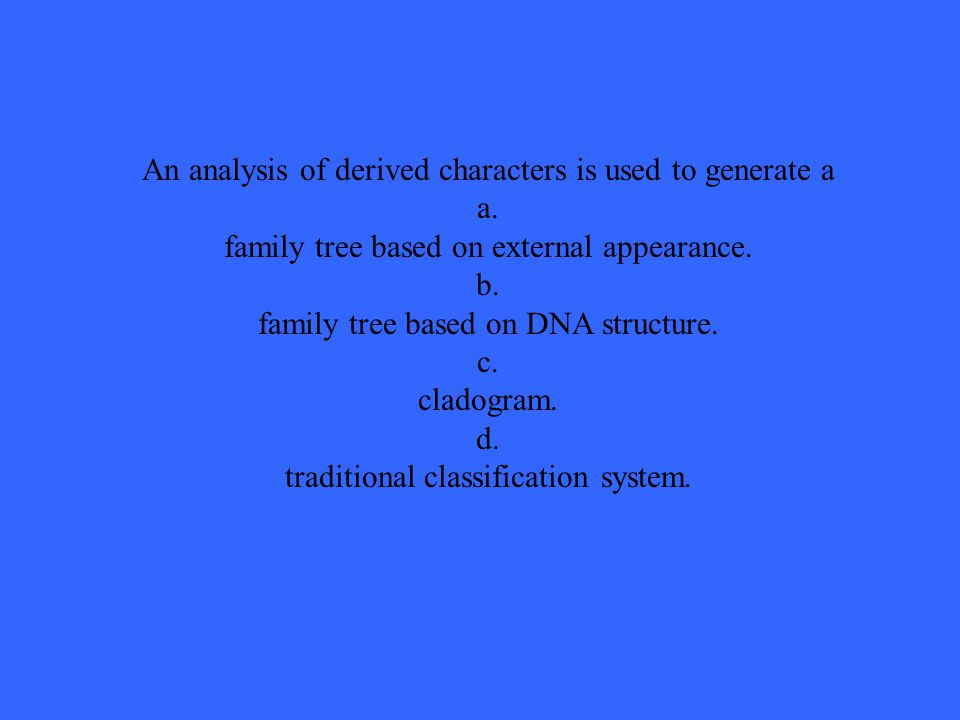 An analysis of derived characters is used to generate a a.