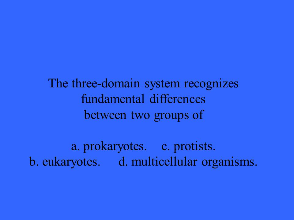 The three-domain system recognizes fundamental differences between two groups of a.