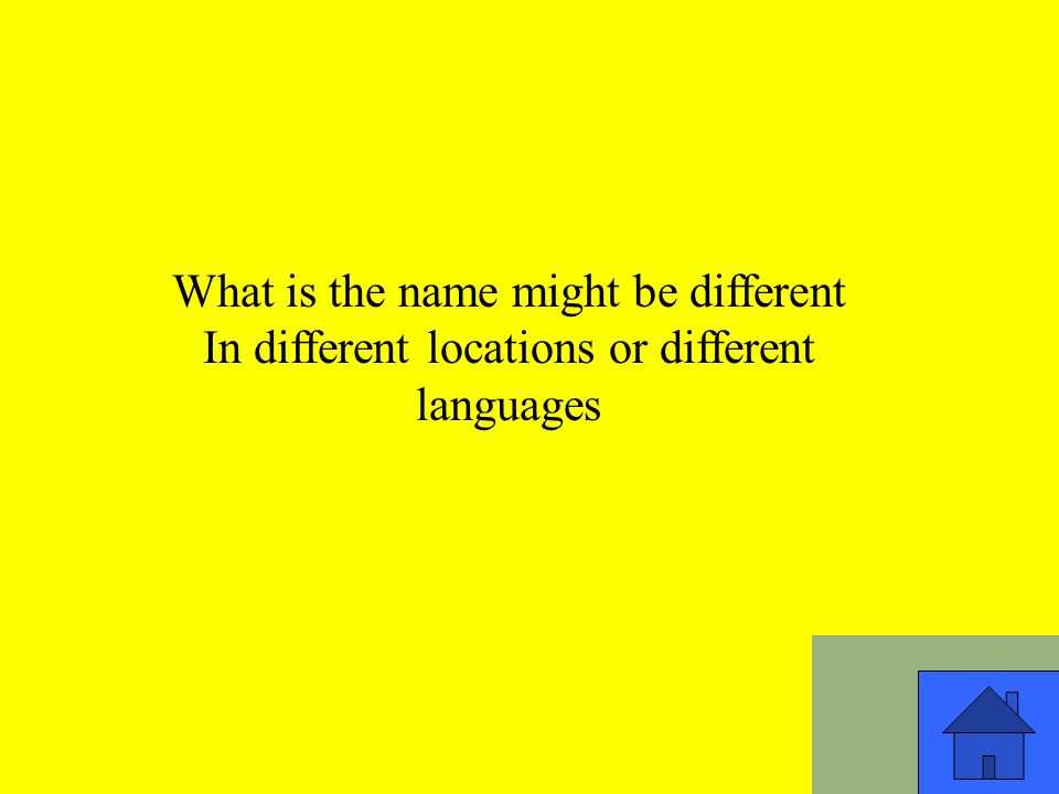 What is the name might be different In different locations or different languages