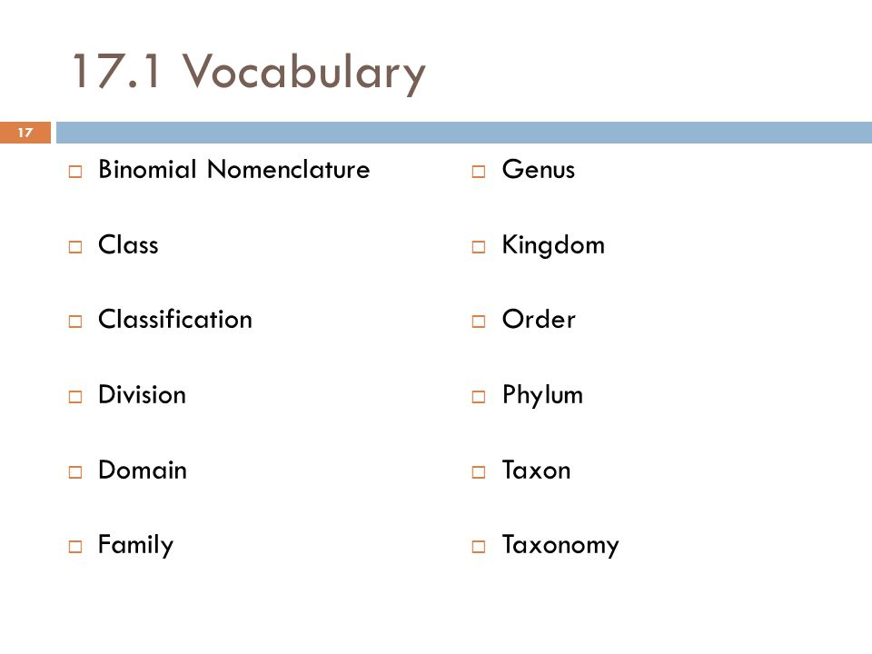 17.1 Vocabulary  Binomial Nomenclature  Class  Classification  Division  Domain  Family  Genus  Kingdom  Order  Phylum  Taxon  Taxonomy 17