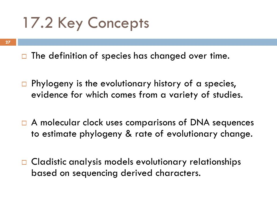 17.2 Key Concepts  The definition of species has changed over time.