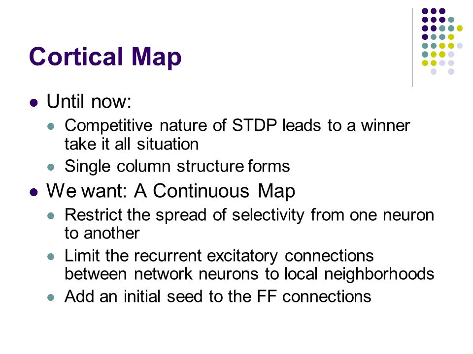 Cortical Map Until now: Competitive nature of STDP leads to a winner take it all situation Single column structure forms We want: A Continuous Map Restrict the spread of selectivity from one neuron to another Limit the recurrent excitatory connections between network neurons to local neighborhoods Add an initial seed to the FF connections