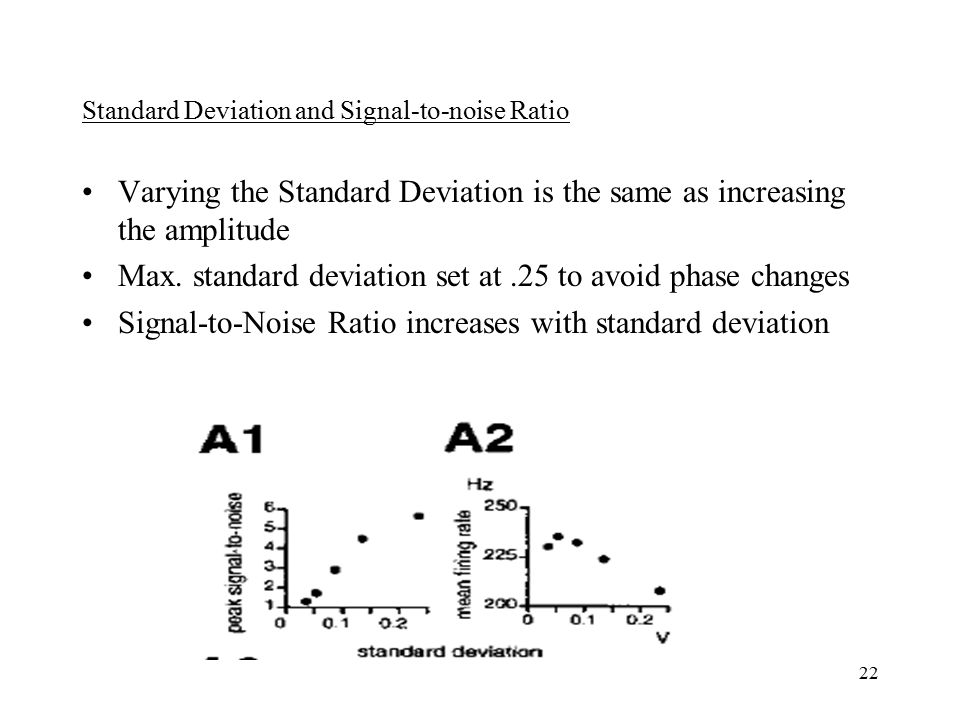 22 Standard Deviation and Signal-to-noise Ratio Varying the Standard Deviation is the same as increasing the amplitude Max.