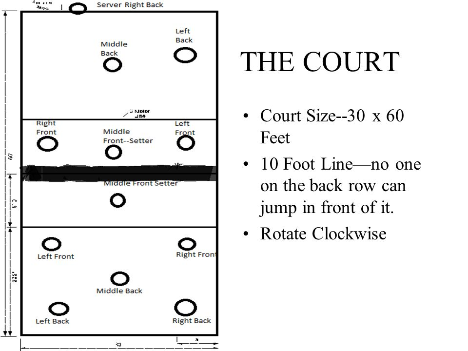 THE COURT Court Size--30 x 60 Feet 10 Foot Line—no one on the back row can jump in front of it.