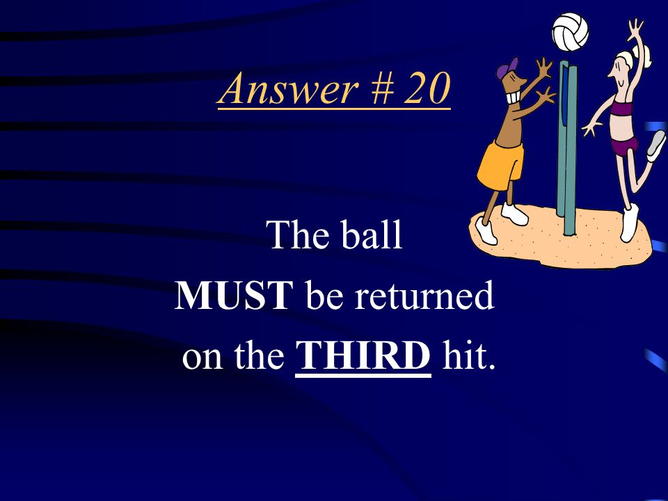 Question # 20 How many hits, including the return, is a team permitted to make