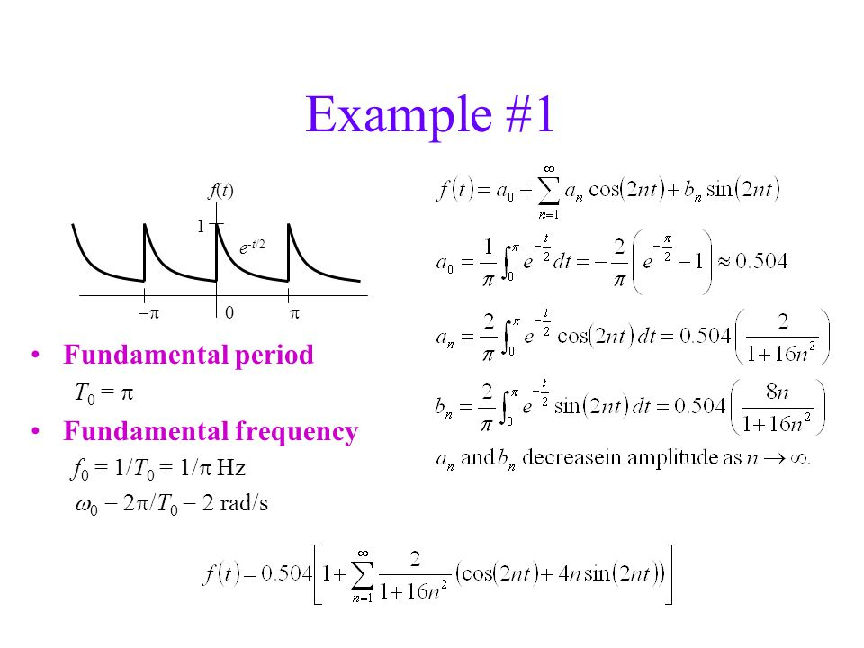 Example #1 Fundamental period T 0 =  Fundamental frequency f 0 = 1/T 0 = 1/  Hz  0 = 2  /T 0 = 2 rad/s 0  1 e -t/2 f(t)f(t)