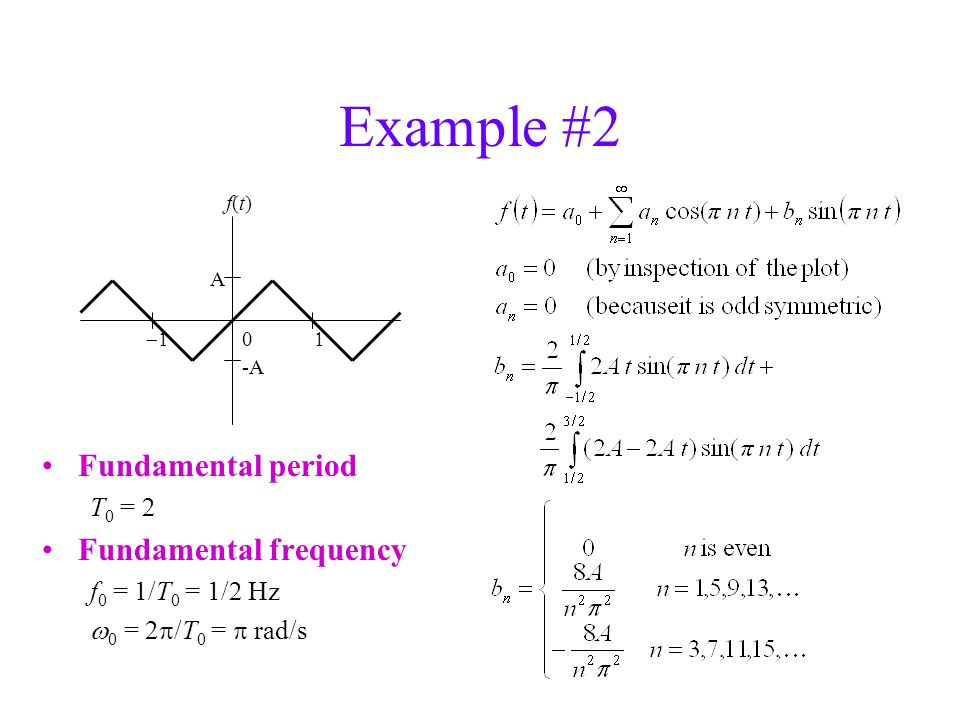 Example #2 Fundamental period T 0 =  Fundamental frequency f 0 = 1/T 0 = 1/  Hz  0 = 2  /T 0 =  rad/s 0  A f(t)f(t) -A