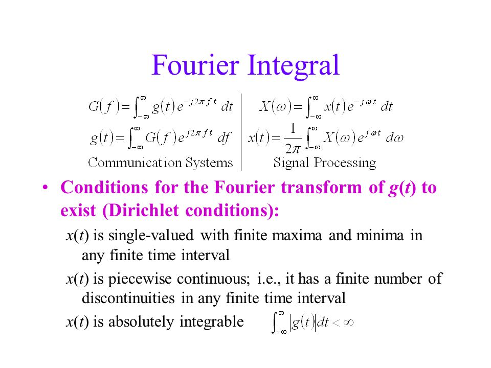 Fourier Integral Conditions for the Fourier transform of g(t) to exist (Dirichlet conditions): x(t) is single-valued with finite maxima and minima in any finite time interval x(t) is piecewise continuous; i.e., it has a finite number of discontinuities in any finite time interval x(t) is absolutely integrable