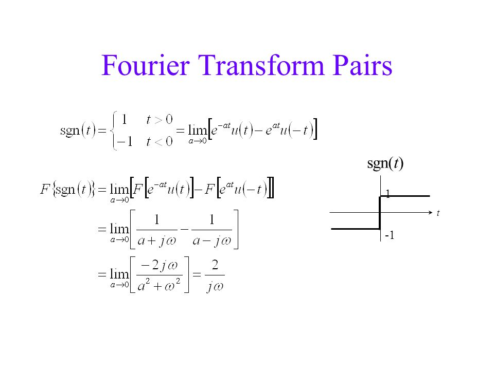 Fourier Transform Pairs 1 t sgn(t)