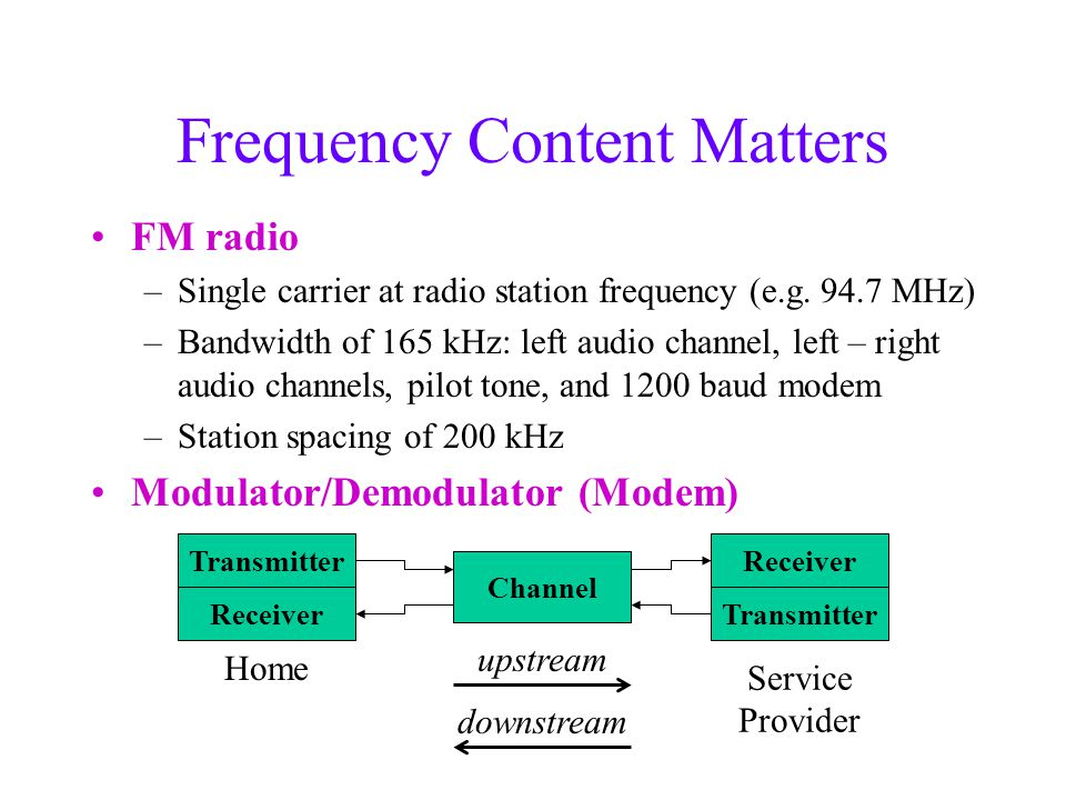 Frequency Content Matters FM radio –Single carrier at radio station frequency (e.g.