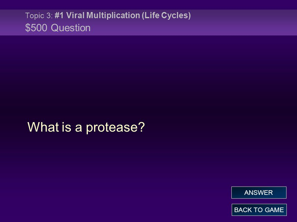 Topic 3: #1 Viral Multiplication (Life Cycles) $500 Question What is a protease.