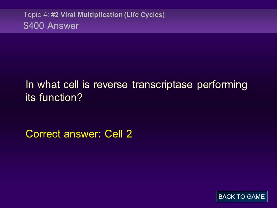 Topic 4: #2 Viral Multiplication (Life Cycles) $400 Answer In what cell is reverse transcriptase performing its function.