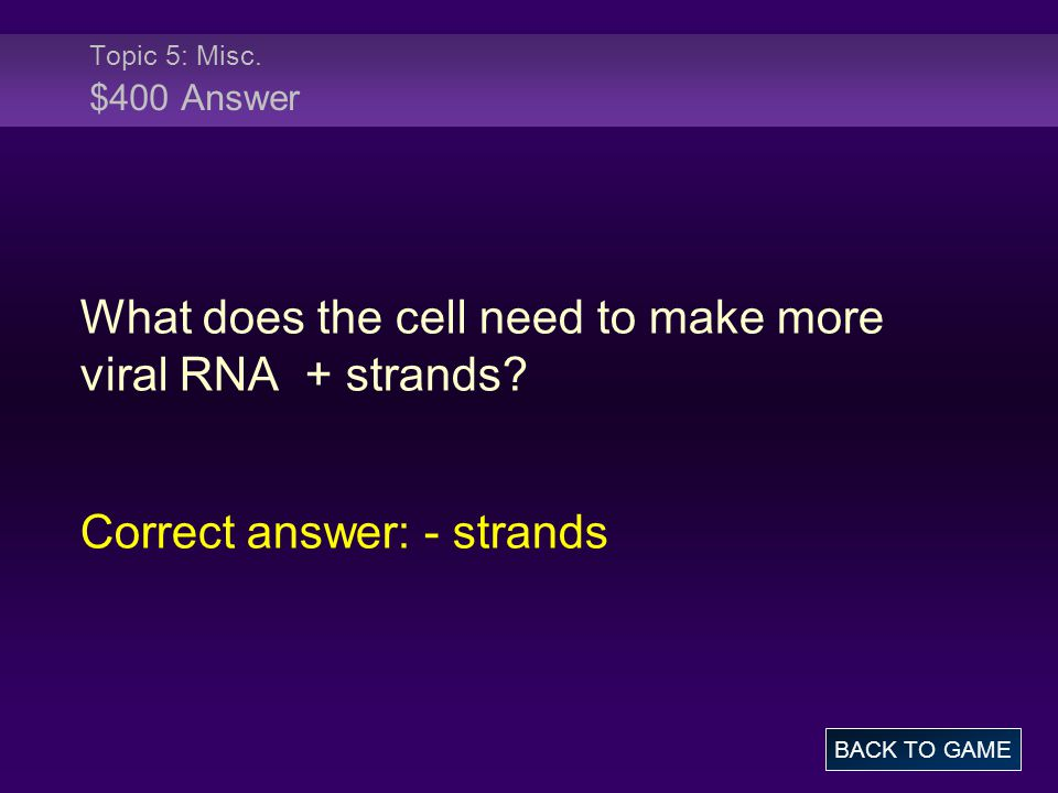 Topic 5: Misc. $400 Answer What does the cell need to make more viral RNA + strands.