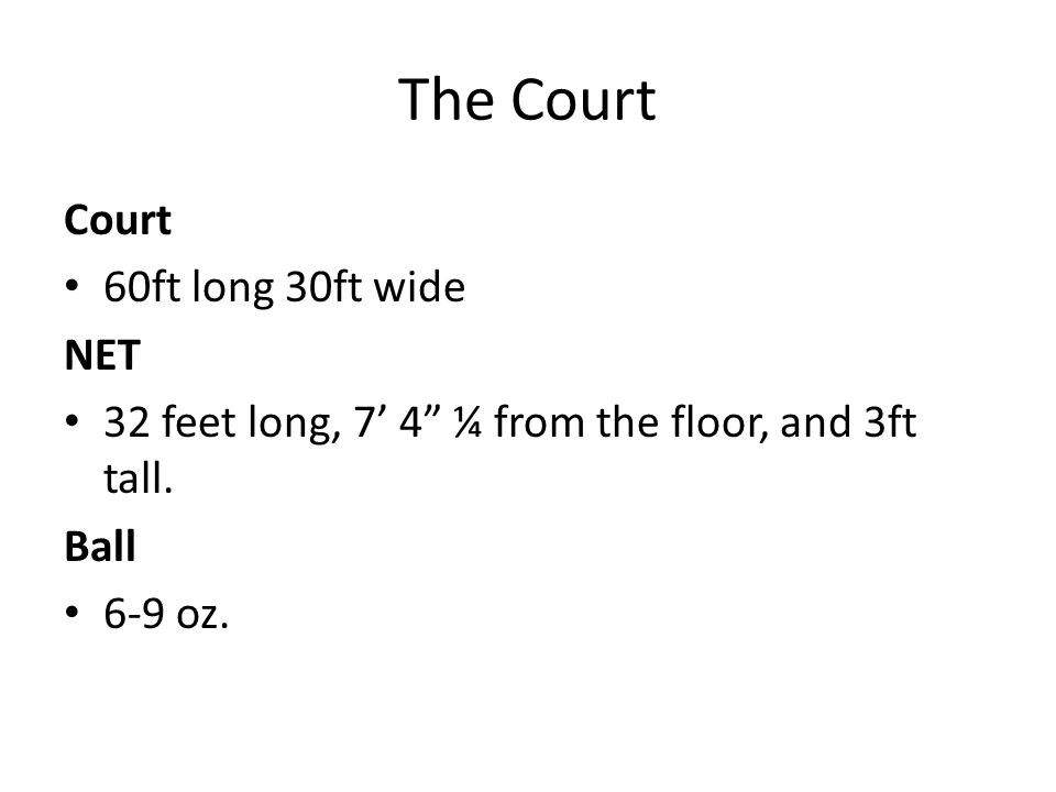 The Court Court 60ft long 30ft wide NET 32 feet long, 7' 4 ¼ from the floor, and 3ft tall.
