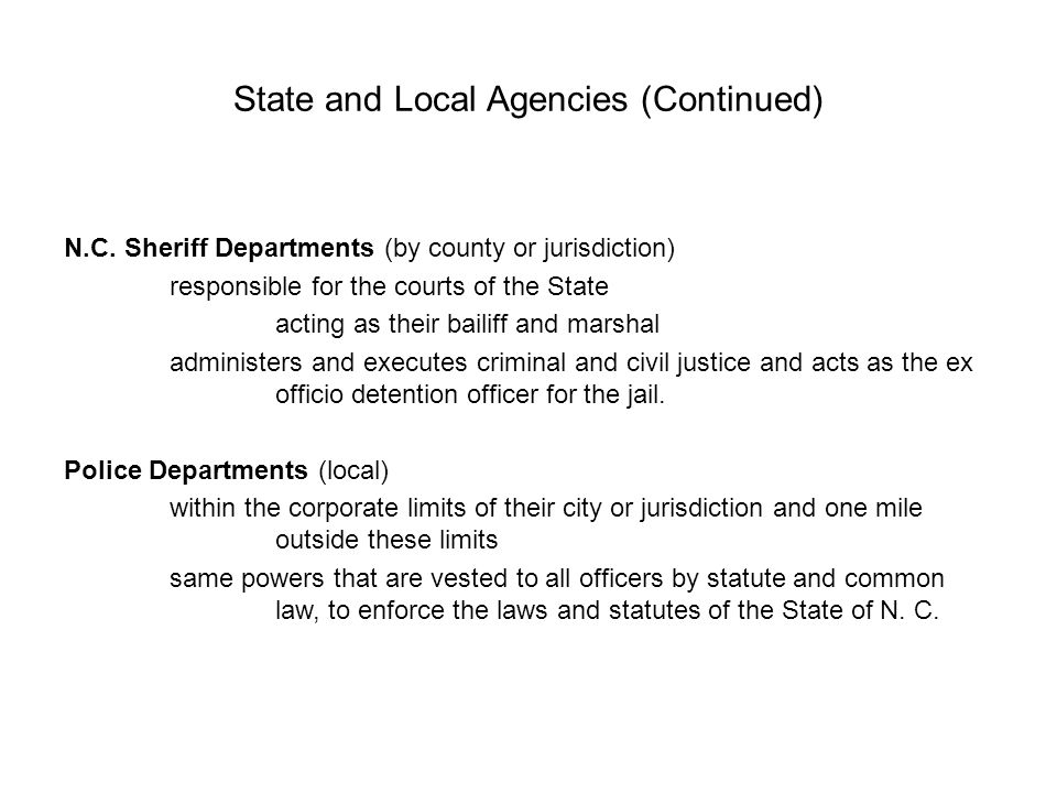 State and Local Agencies (Continued) N.C.