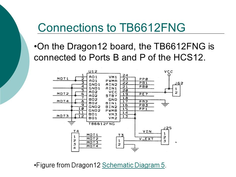 On the Dragon12 board, the TB6612FNG is connected to Ports B and P of the HCS12.