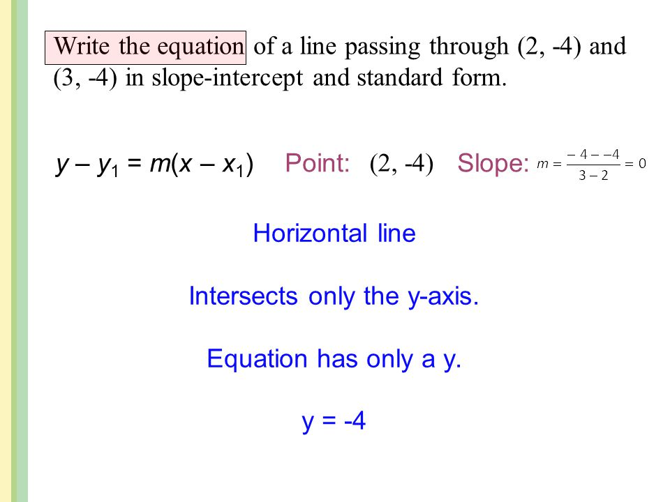 point slope form horizontal line  Point-Slope Form Use point-slope form to write the equation ...