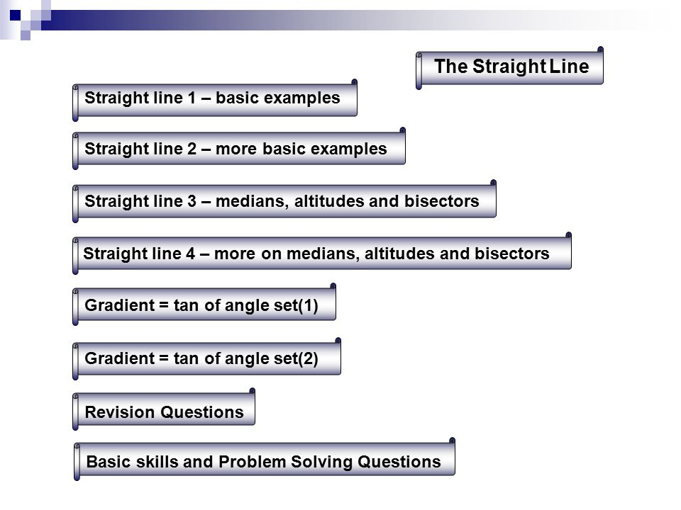 The Straight Line Straight line 1 – basic examples Straight line 2 – more basic examplesStraight line 4 – more on medians, altitudes and bisectors Straight line 3 – medians, altitudes and bisectorsGradient = tan of angle set(2) Gradient = tan of angle set(1) Revision QuestionsBasic skills and Problem Solving Questions