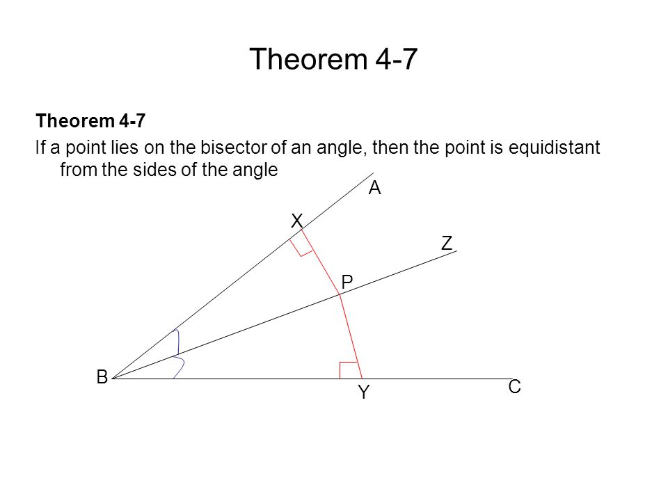 Theorem 4-7 If a point lies on the bisector of an angle, then the point is equidistant from the sides of the angle B X P Y C A Z